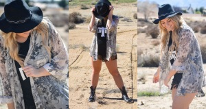Spring look rocking' fringe shorts, graphic License To Boot tank, combats & shimmering with some PinkPewter