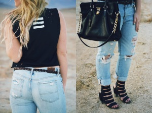 Perfect relaxed look rocking some boyfriend jeans & men's HDEU cut up tee // www.friskygypsy.com